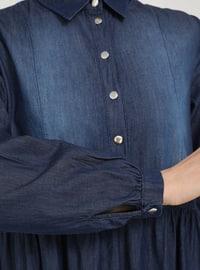 Navy Blue - Point Collar - Unlined - Modest Dress