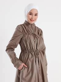 Zipper and Lace Detailed High Collar Trench Coat - Mink - Casual