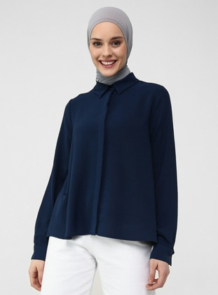 Navy Blue - Point Collar - Blouses - Casual
