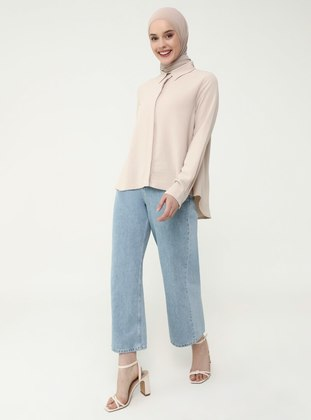 Beige - Point Collar - Blouses - Casual
