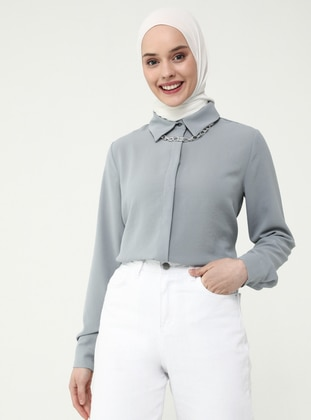 Gray - Point Collar - Blouses - Casual