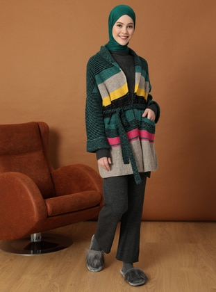 Green - Stripe - Unlined - Knit Cardigans