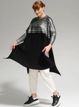 Black - Multi - Unlined - Acrylic - - Knit Ponchos