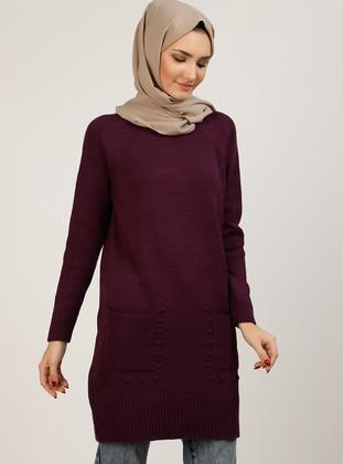 Purple - Crew neck - Unlined - Knit Tunics