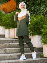 Khaki -  - Viscose - Polo neck - Tracksuit Set