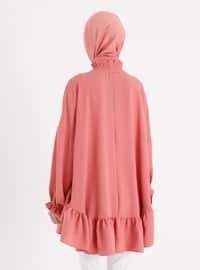 Pink - Polo neck - Tunic - Casual