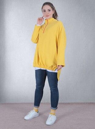 Checkered - Yellow - Sweat-shirt