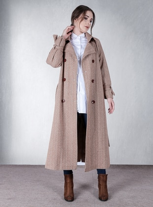 Beige - Stripe - Fully Lined - Shawl Collar - Coat