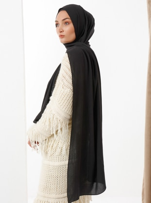 Black - Black - Plain - Cotton - Shawl