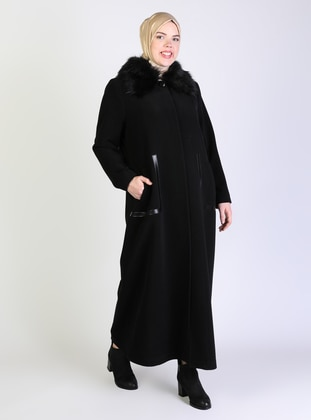 Black - Fully Lined - Point Collar - Plus Size Coat - Olcay