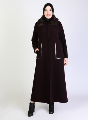 Plum - Fully Lined - Point Collar - Plus Size Coat - Olcay