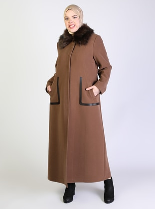 Tan - Fully Lined - Point Collar - Plus Size Coat - Olcay