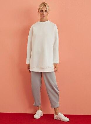 Crew neck - White - Ecru - Sweat-shirt