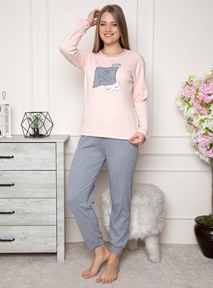 Salmon - Crew neck - Stripe - Pyjama Set