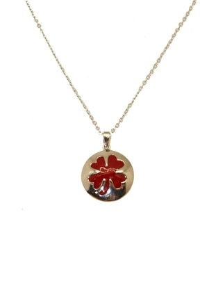 Silver tone - Red - Necklace