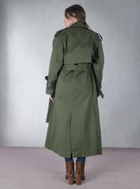 Green - Fully Lined - Shawl Collar - Trench Coat