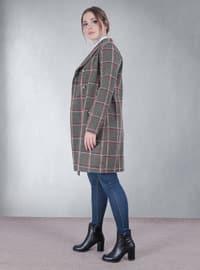 Green - Plaid - Fully Lined - V neck Collar - Jacket