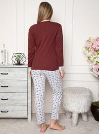 Maroon - Crew neck - Multi - Pyjama Set