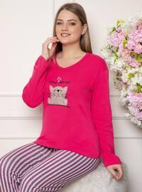 Fuchsia - Crew neck - Stripe - Pyjama Set