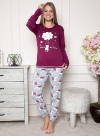 Plum - V neck Collar - Multi - Pyjama Set