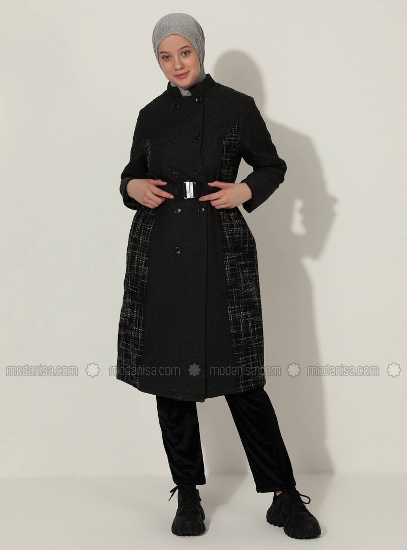 Purple - Black - Fully Lined - Plus Size Overcoat