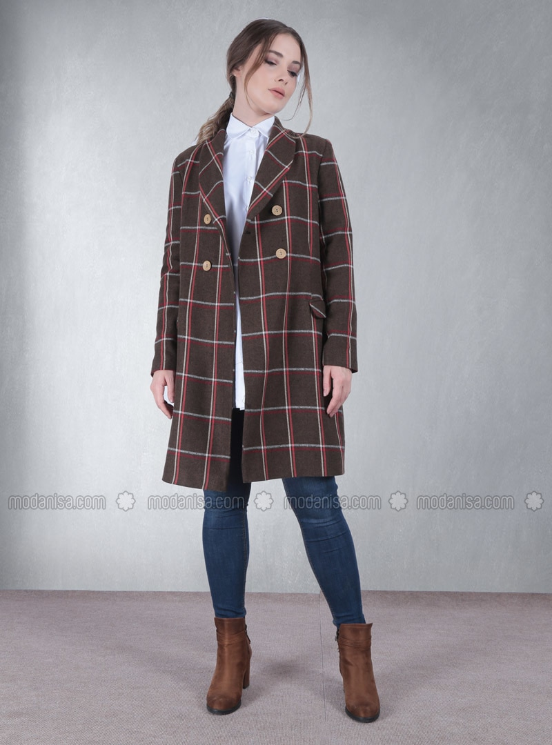 Brown - Plaid - Fully Lined - V neck Collar - Jacket