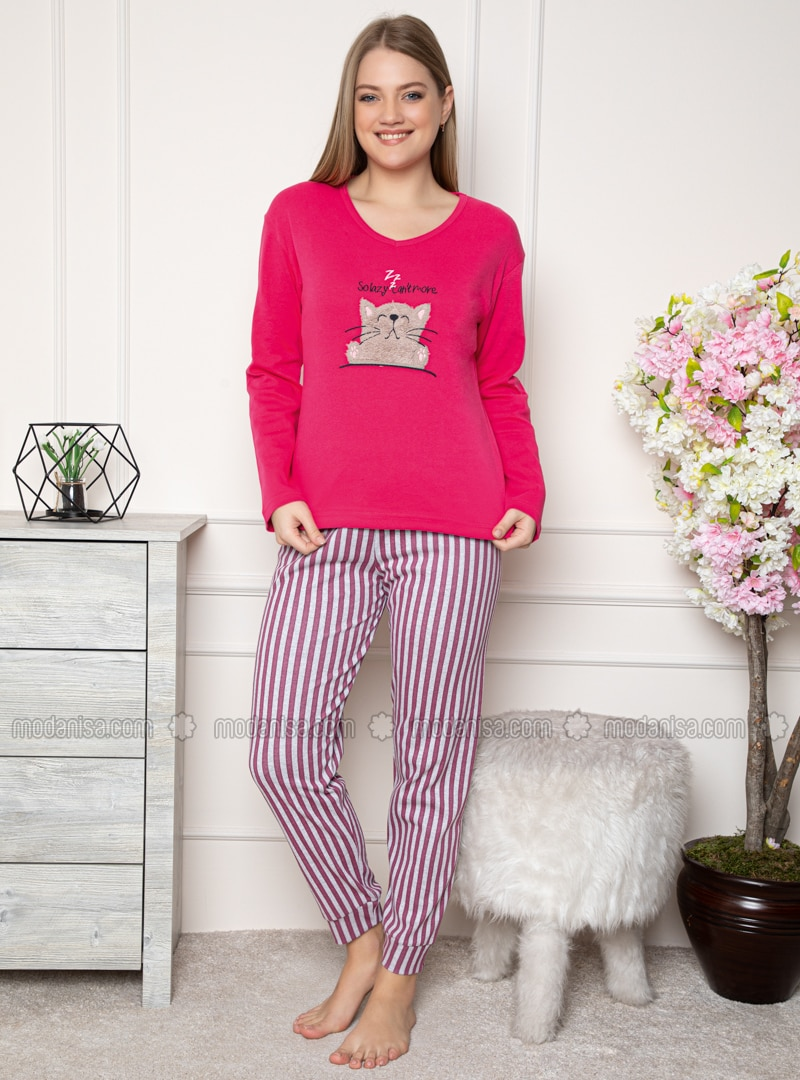 Fuchsia - Crew neck - Stripe - Pyjama Set