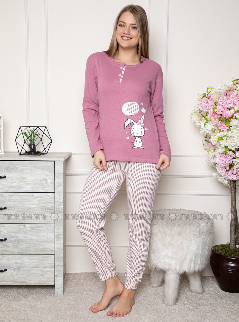 Lilac - Crew neck - Gingham - Pyjama Set
