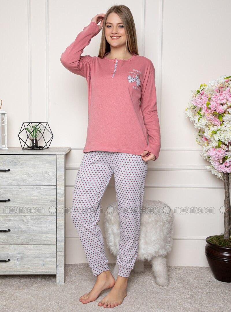 Rose - Crew neck - Polka Dot - Pyjama Set