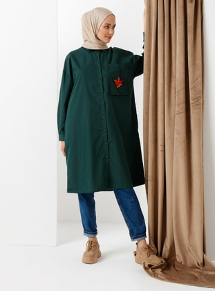 Green - Point Collar - Cotton - Tunic