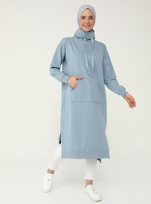 Polo-neck Pocket Sweatshirt - Deep Blue - Basic