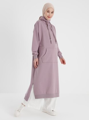 Polo-neck Pocket Sweatshirt - Purple - Basic