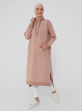 Polo-neck Pocket Sweatshirt - Tiramisu - Basic