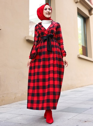 Red - Black - Plaid - Unlined - Suit