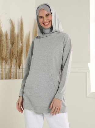 Kangaroo Pocket Hooded Sweatshirt- Gray