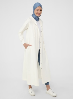 Hood Detailed Snap Fastener Sports Topcoat- Off white