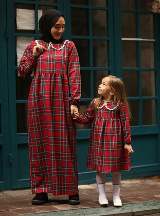Red - Plaid - Round Collar - Cotton - Unlined - Red - Girls` Dress