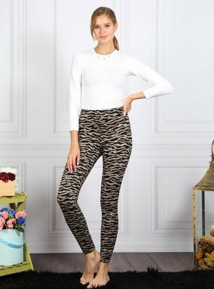 Brown - Leopard - Cotton - Legging