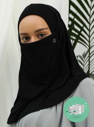 Black - Black - Plain - Viscose - Mask
