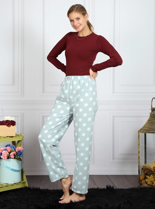 Sea-green - Polka Dot - Pyjama - AKBENİZ