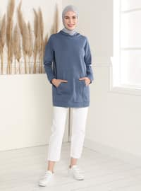Kangaroo Pocket Hooded Sweatshirt- Indigo