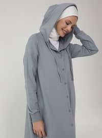 Hood Detailed Snap Fastener Sports Topcoat- Gray Blue