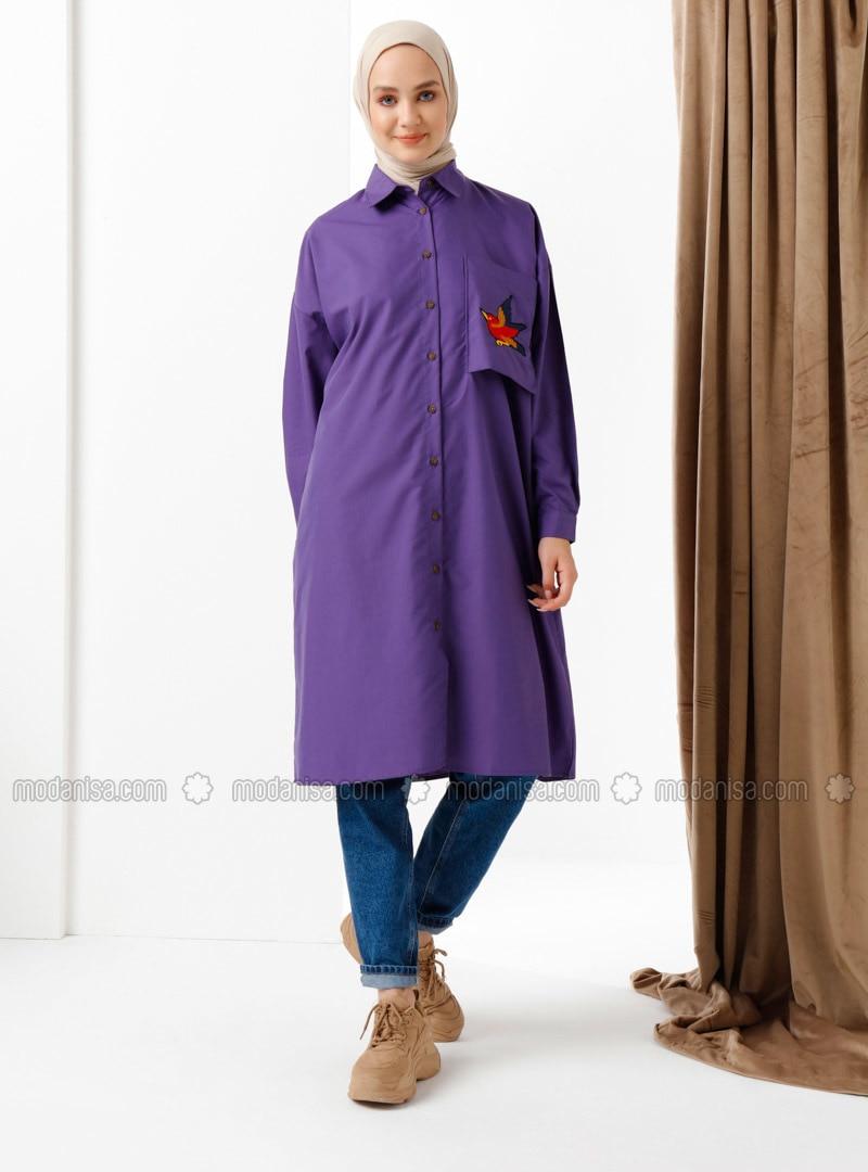 Purple - Purple - Point Collar - Cotton - Purple - Point Collar - Cotton - Purple - Point Collar - Cotton - Purple - Point Collar - Cotton - Purple - Point Collar - Cotton - Tunic