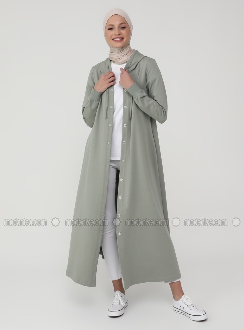Hood Detailed Snap Fastener Sports Topcoat- Thyme