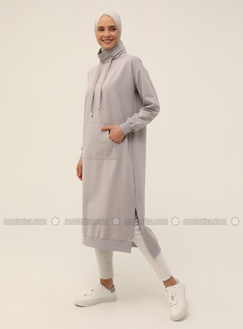 Polo neck - Gray - Sweat-shirt - Basic
