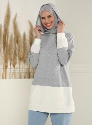 Kangaroo Pocket Sweatshirt with Hood - Gray