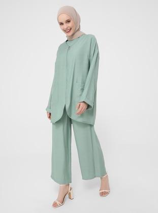 Green Almond - Unlined - V neck Collar - Topcoat