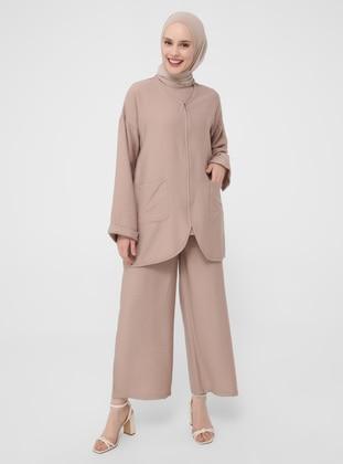 Camel - Nude - Unlined - V neck Collar - Topcoat