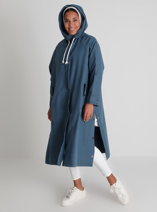 Navy Blue - Blue - Unlined - Trench Coat