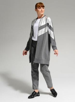 Anthracite - Crew neck - Cotton - Jacket